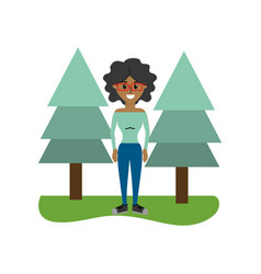 Happy woman with curly hair and pine trees vector