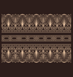 Horizontal seamless patterns ornamental borders vector