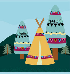 Indian tent in forest vector
