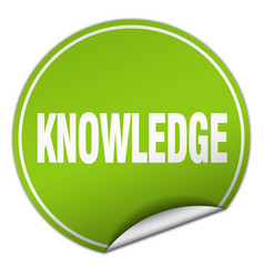 Knowledge round green sticker isolated on white vector