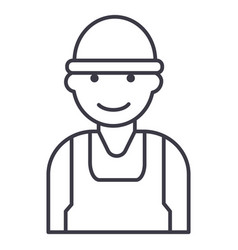 laborworkerbuilder line icon sign vector image