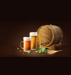 Lager beer in glass cup and wood barrel with wheat vector