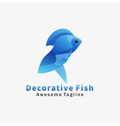 logo decorative fish gradient colorful style vector image