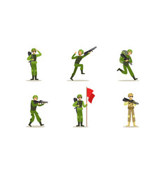 Male army soldiers set men in camouflage military vector