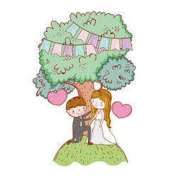man and woman wedding with tree and hearts vector image