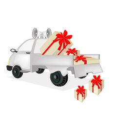 Many Gift Boxes on A Pickup Truck vector