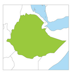 Map ethiopia green highlighted with neighbor vector