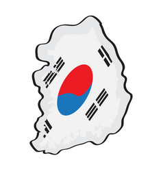 map of south korea with its flag vector image