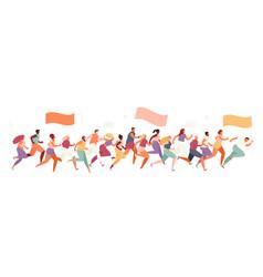 Marathon running crowd people vector