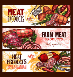 Meat farm products sketch banners vector