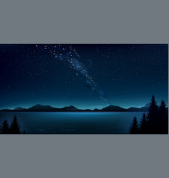 Night mountain landscape and milky way vector