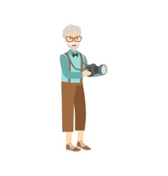 Old man in hipster fashion clother with camera vector