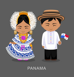 panamanians in national dress with a flag vector image
