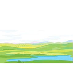 Panorama hills with pond in valley vector
