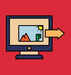 Photos icon on laptop screen multimedia sharing vector