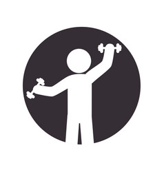 Pictogram circular frame with man lifting a vector