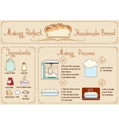 Recipe homemade bread with ingredients hand vector