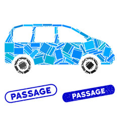 Rectangle mosaic minivan with distress passage vector