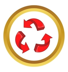 Red arrow recycling icon vector