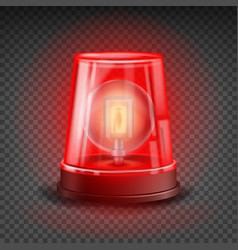 red flasher siren realistic object light vector image