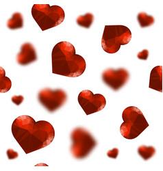 red polygonal heart random seamless pattern vector image