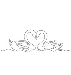 romantic animal love concept one continuous line vector image