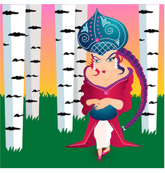 russian fairytale princess with kokoshnik birch vector image