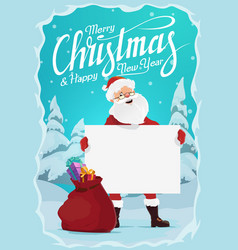santa claus with christmas gifts and blank sign vector image