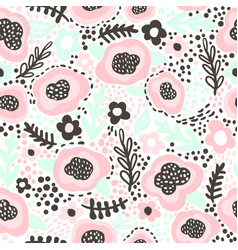 seamless hand drawn floral pattern in pink mint vector image