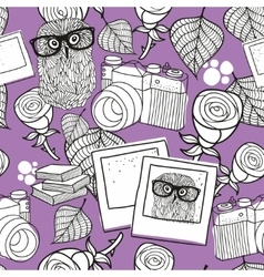 Seamless pattern for coloring with smart owls and vector