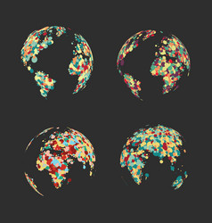 set abstract globe of the earth of colorful dots vector image