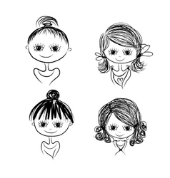 Set of cute girl characters cartoon for your vector image