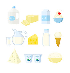 set of different dairy products in a flat stule vector image