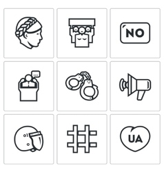 Set of feminism and womens rights icons vector