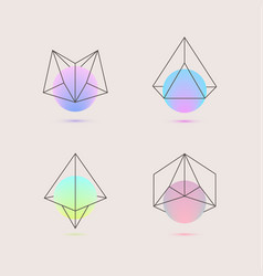 Set of holographic geometric logos vector