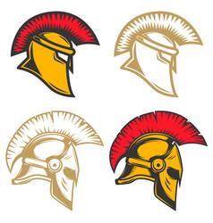 set of spartan helmets design elements for label vector image