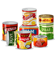 set of tin food vector image