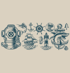 set on nautical theme vector image