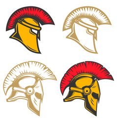 set spartan helmets design elements for label vector image