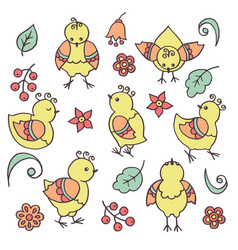 Set with abstract bright yellow funny chickens vector