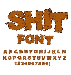 Shit font letters from poop alphabet shit vector