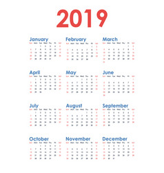 simple vertical calendar for 2019 year on white vector image