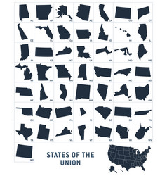 simplified state shapes usa 50 vector image
