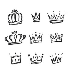 sketch crown simple crowns hand drawn vector image