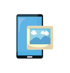 smartphone and photo on white background vector image