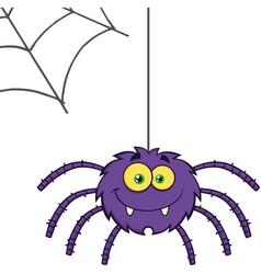 Smiling purple halloween spider cartoon character vector