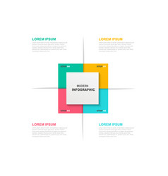 square infographic template with icons and 4 vector image