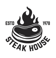 Steak house cutted meat and crossed meat cleavers vector