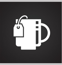 tea icon on black background for graphic and web vector image