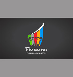 team of five financial people logo vector image